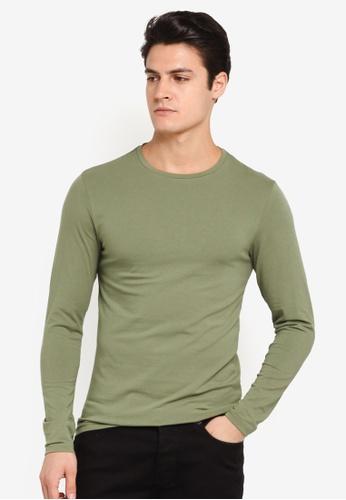 Burton Menswear London green Olive Green Long Sleeve Muscle Fit T-Shirt BU964AA0T1HHMY_1