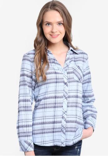 Geb. blue Checkered Long Sleeve Shirt GE945AA17LJQMY_1