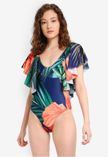 PINK N' PROPER multi Philomena Tropical Plunge Ruffle Swimsuit 2E1AAUS86ACE05GS_1