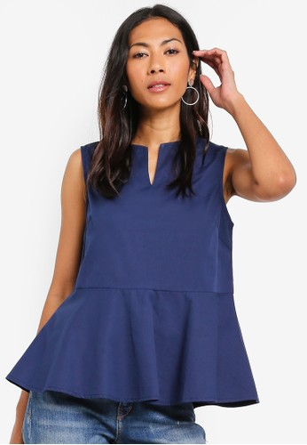 ZALORA BASICS navy Basic Loose Peplum Top 0D19AAA271054BGS_1