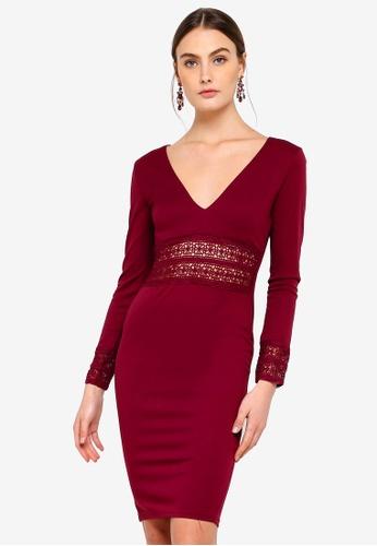 AX Paris red Crochet Bodycon Dress B3A45AAAA69219GS_1