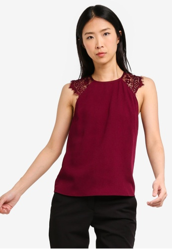 ZALORA BASICS red Basic Lace Sleeves Top 44942AA78873A8GS_1