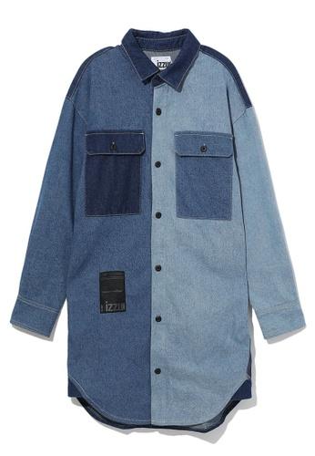 izzue blue Split denim shirt dress A26D4AA39CE467GS_1
