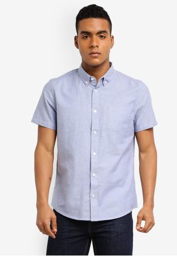 Burton Menswear London blue Short Sleeve Blue Oxford Shirt 94537AA5A4A466GS_1