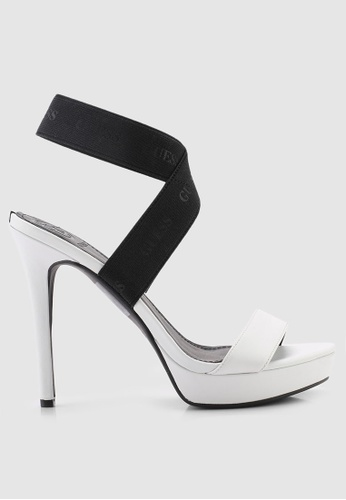 Guess 白色 LOGO印花繞帶高跟鞋 D0FA5SH0245604GS_1