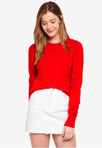 Guess red Eden Crew Neck Cropped Sweater Top 7A23AAA9601CB9GS_1