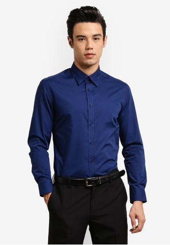 G2000 blue Basic Long Sleeve Poplin Shirt G2754AA0RDIDMY_1
