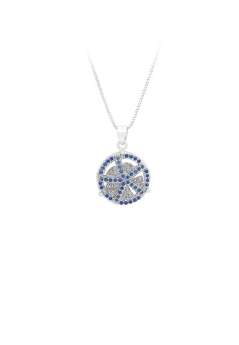 Glamorousky silver 925 Sterling Silver Windmill Pendant with Blue Cubic Zircon and Necklace EF941ACB919039GS_1