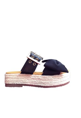 Twenty Eight Shoes 黑色 蝴蝶厚底拖鞋 VM505 TW446SH72BJVHK_1