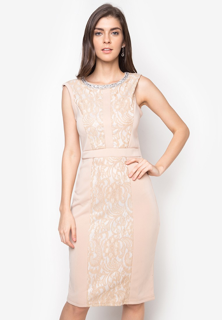 Rhine Stone Neckline Formal Dress