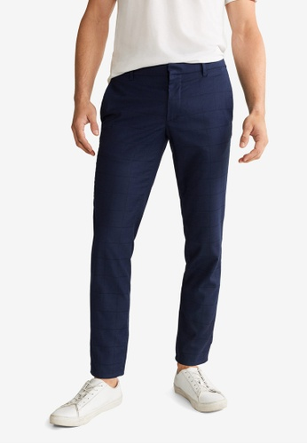 Mango Man 藍色 Slim-Fit Check-Print Trousers DAF16AA7E1CF64GS_1