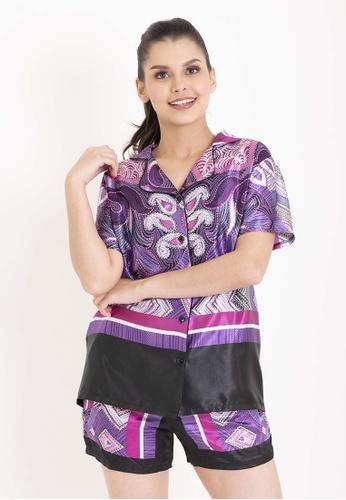 Chain purple Priya Button Down Top And Jill Bottom With Purple and Black Prints Satin Pajama Set B2183AA79DEA1FGS_1