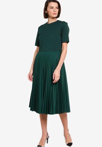 ck Calvin Klein green CLEAN FACE INTERLOCK PLEATED POPLIN DRESS F13F3AA9138A38GS_1