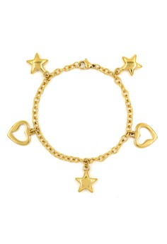 Plated Star and Heart Bracelet
