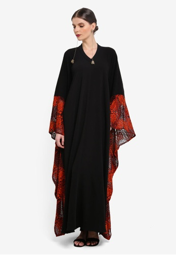 Rizalman for Zalora black and red and multi Ashoka Kaftan Lace RI909AA0SEYMMY_1
