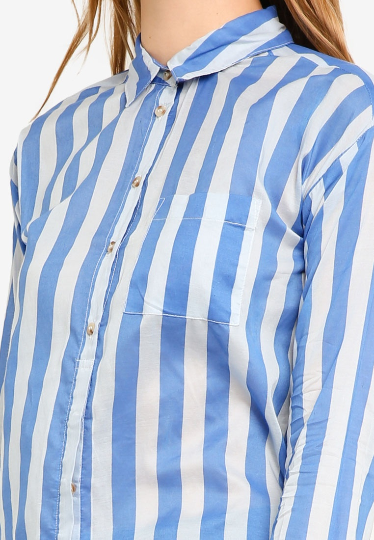 Nebulas Blue Corin ICHI Striped Shirt wFExdq0dt