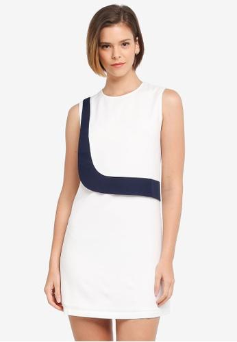 ZALORA white Colorblock Panel Mini Dress 75263AAAED50DCGS_1