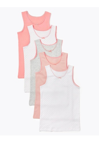 MARKS & SPENCER pink M&S 5 Pack Cotton Spotted Vests (2-16 Years) A0EC4KAFFD77DFGS_1