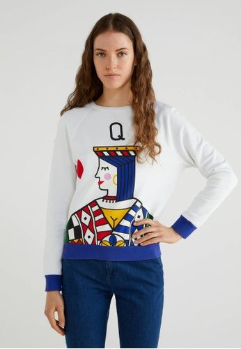 """United Colors of Benetton white """"Queen of hearts"""" Printed Sweatshirt C1628AAB8AAB7DGS_1"""