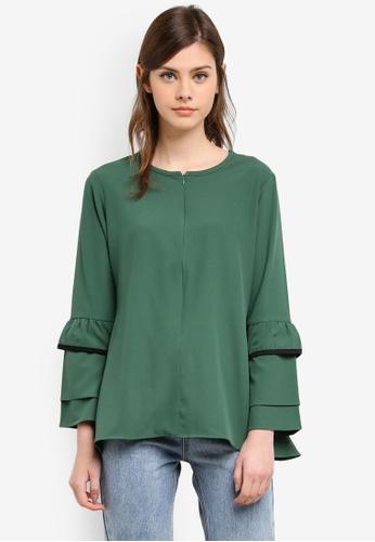 Wafiyya by Dollscarf green Jasmine Nursing Blouse WA375AA0S75RMY_1