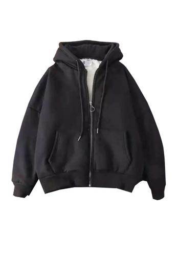 Twenty Eight Shoes black VANSA Solid Color Composite Velvet Hooded Coat  VCW-C017 8B592AAFB02609GS_1