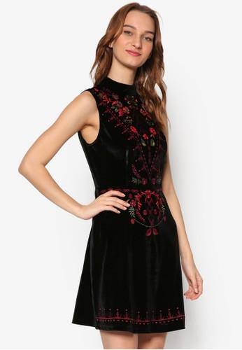 刺繡花esprit hk outlet卉無袖傘擺洋裝, 服飾, 洋裝