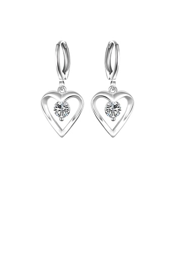 Glamorousky white Simple Romantic Heart Shaped Cubic Zircon Earrings EC3ECAC18D88E2GS_1