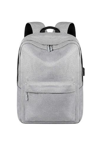Lara grey Minimalist Plain Zipper Backpack - Grey E866EAC377D498GS_1