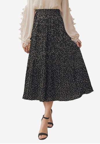 Yoco black Chiffon Polka Dot Pleated Skirt CCE6FAA7330E8AGS_1