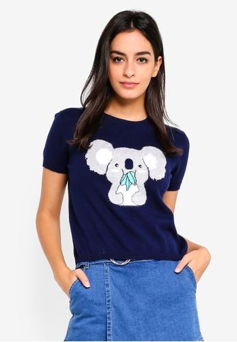 6IXTY8IGHT blue Koala Knitted T-Shirt 92150AA1EFA8B2GS_1