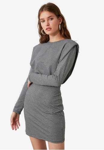 Trendyol grey Padded Shoulder Knit Dress FA031AAEC8807BGS_1