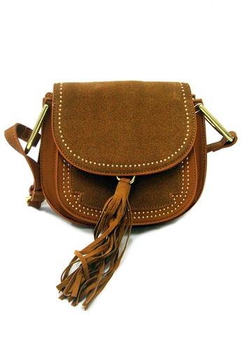 LULUGIFT brown Lulugift Retro Gold Rivets Tassel Lady Shoulder Bag Brown LU989AC38YNDMY_1