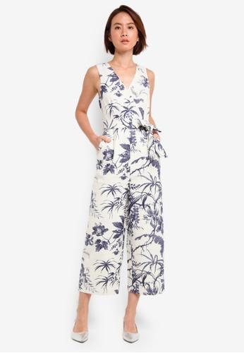 WAREHOUSE white Lauren Floral Jumpsuit 0979CAA79D4224GS_1