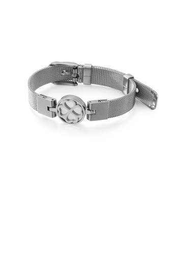 Glamorousky silver Fashion and Elegant Geometric Round Four-leafed Clover Mesh Belt 316L Stainless Steel Bracelet 87937AC683D59FGS_1