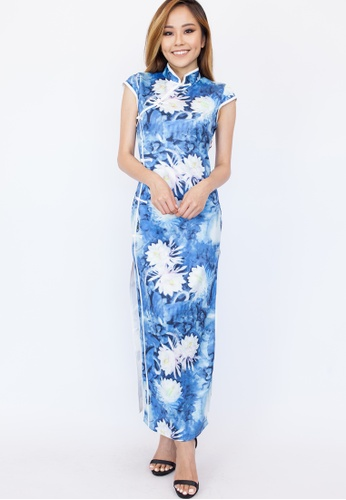 Hook Clothing white and blue Lotus Print Maxi Cheongsam DFACCAA6B99706GS_1