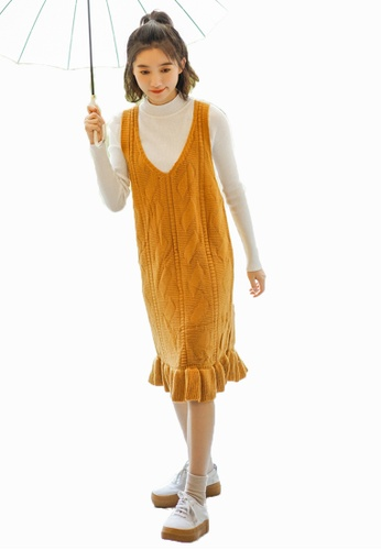 Shopsfashion yellow Ruffles Knitted Slip Dress  SH656AA0GYCUSG_1