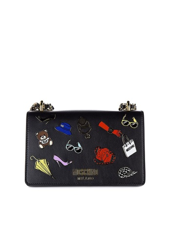 Moschino black MOSCHINO PIN BADGE SHOULDER BAG B8B6EAC6E34DA5GS_1