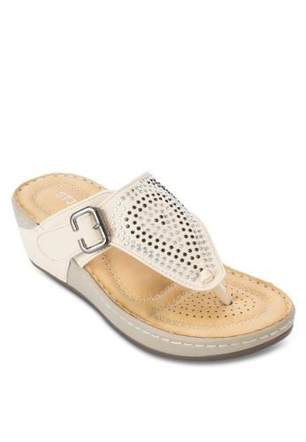 閃石夾腳楔形涼鞋,esprit 眼鏡 女鞋, 楔形涼鞋