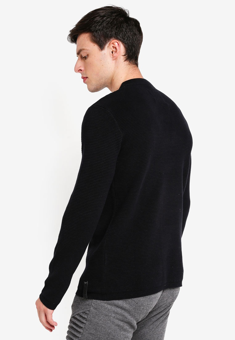 Black Ribbed Ayoub Mini Knitted Indicode Jeans Sweater PfYAq