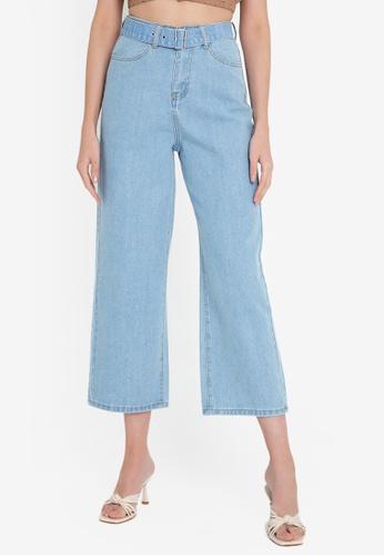ZALORA BASICS blue Wide Leg Jeans with Belt 3D74FAADD29884GS_1