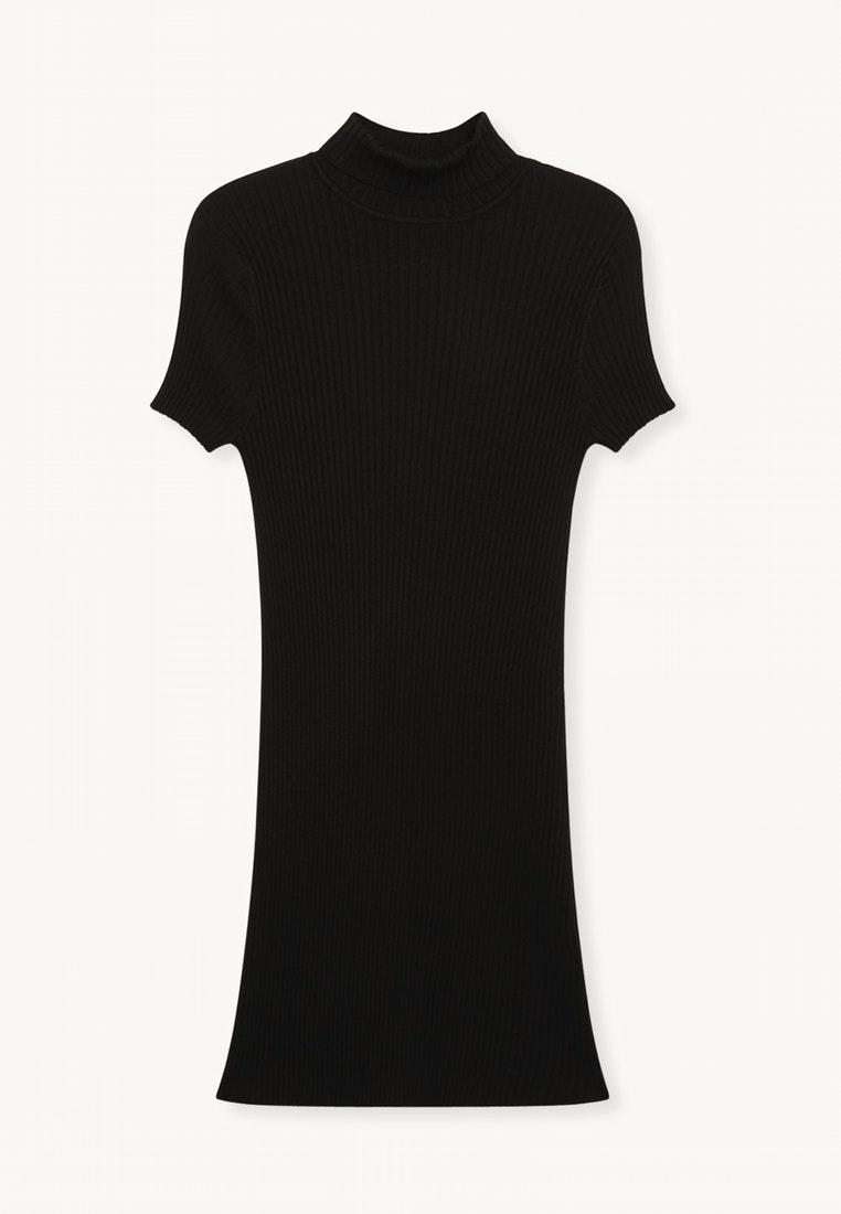 Neck Turtle Ribbed Pomelo Black Dress Black 6SYYx85