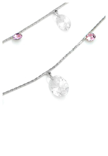 Glamorousky purple Simple Anklet with Purple Austrian Element Crystals and CZ 2F400ACC9EB131GS_1