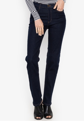 MARKS & SPENCER blue Mid Rise Straight Leg Jeans 5A64CAA5AB62EDGS_1