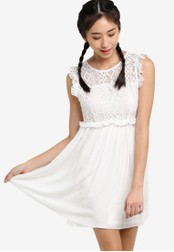 Something Borrowed white Ruffle Lace Dress B1489AA714AA2BGS_1