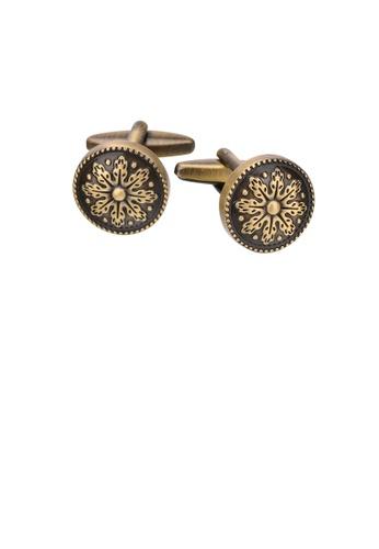 Glamorousky silver Fashion Vintage Plated Gold Pattern Geometric Round Cufflinks 87CBDAC4F2A1A4GS_1