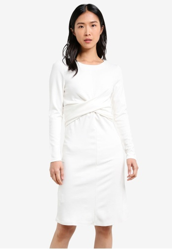 Mango white Draped Detail Dress MA193AA0S6JIMY_1