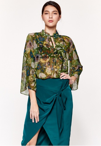 Sisley green Floral Blouse 74A78AA1D6AC34GS_1