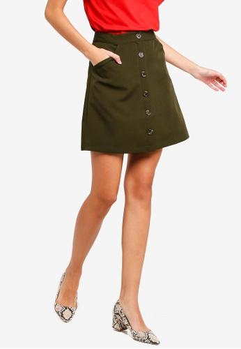 ZALORA green Buttoned A-Line Skirt 90F95AA0470701GS_1