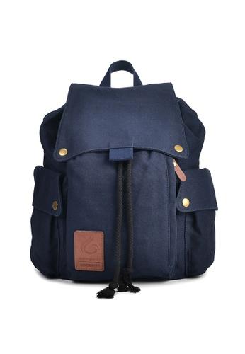 A FRENZ blue Canvas Drawstring Laptop Backpack 179CDAC917D4A7GS_1