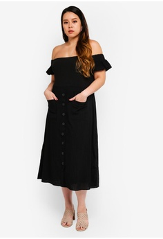 577e52fcf5bf LOST INK PLUS Plus Size Bardot Dress With Pockets S  77.90. Sizes 16 18 20  24